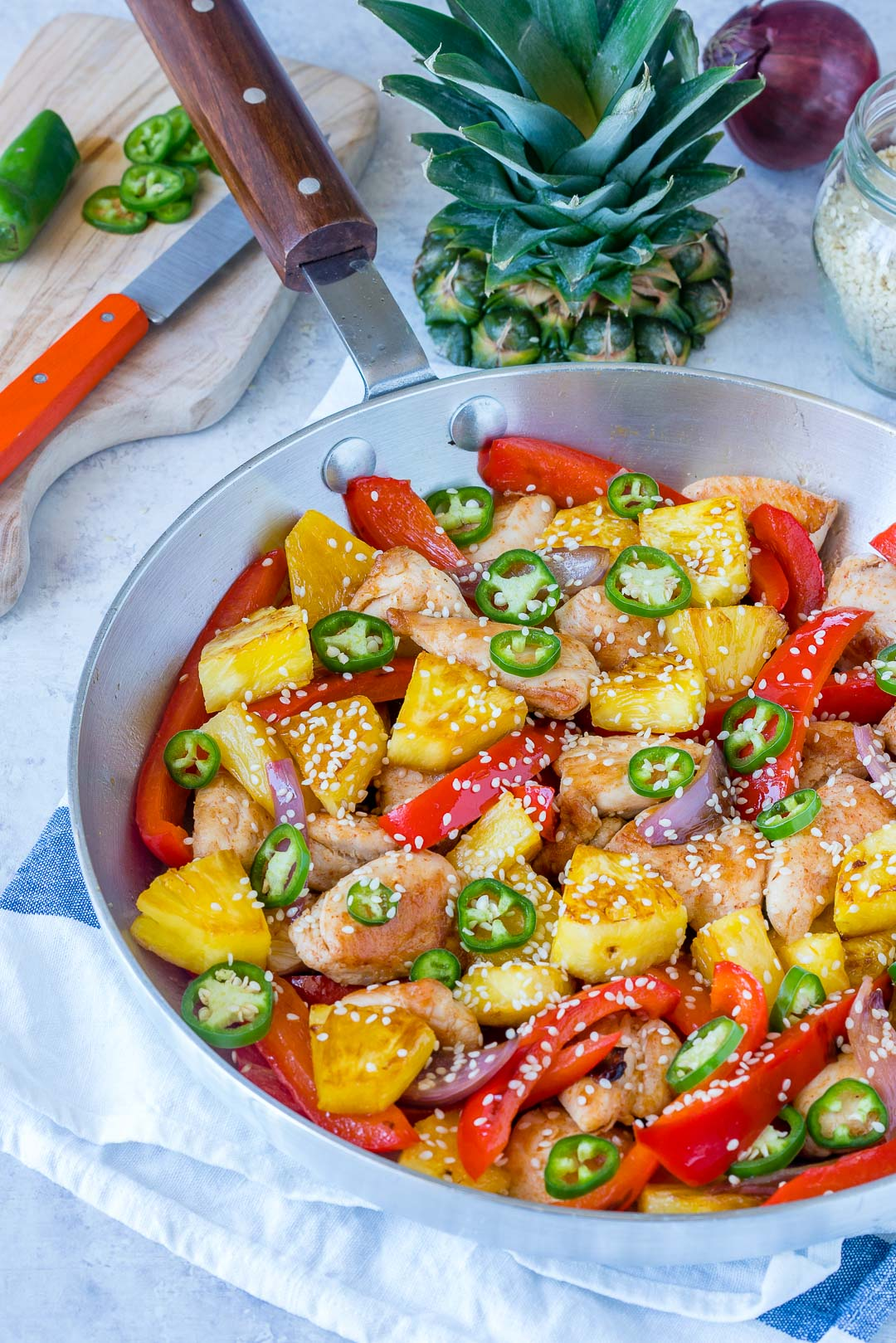 Healthy Sweet & Spicy Pineapple Chicken Skillet