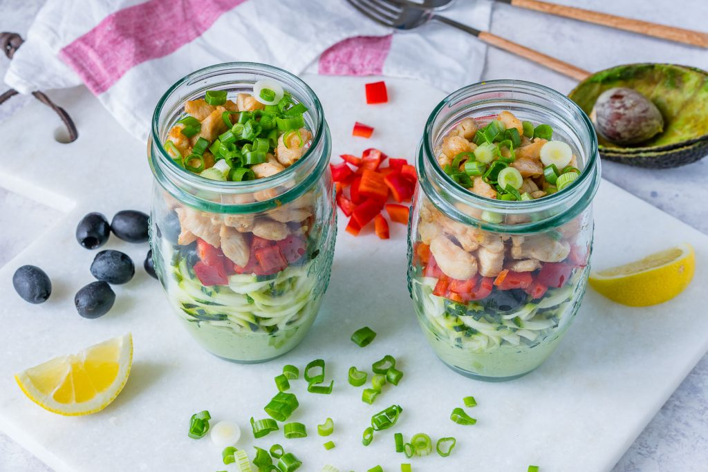 Creative Zoodle Chicken Salad In a Jar