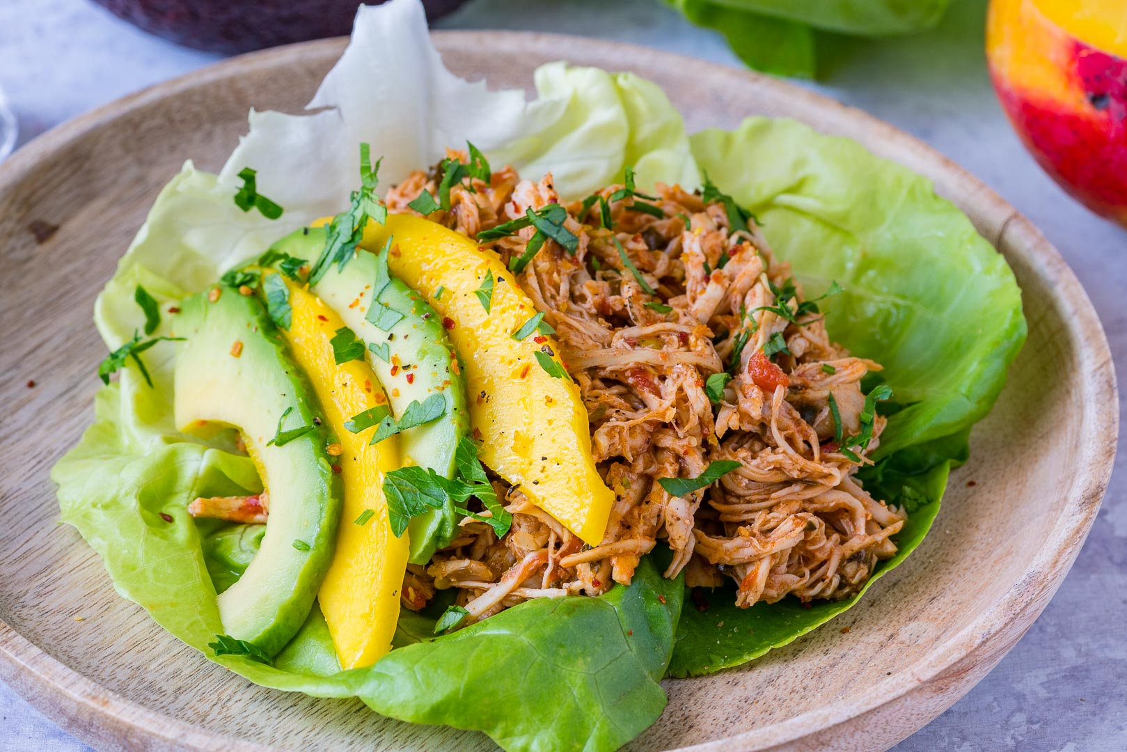 Crock-Pot Jamaican Pulled Chicken Lettuce Wraps CleanFoodCrush