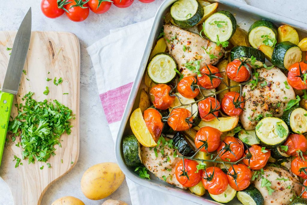 Sheet Pan Summertime Chicken Bake Preparations