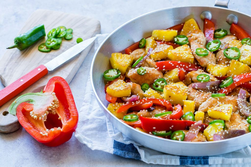 Sweet & Spicy Pineapple Chicken Skillet Dinner Idea