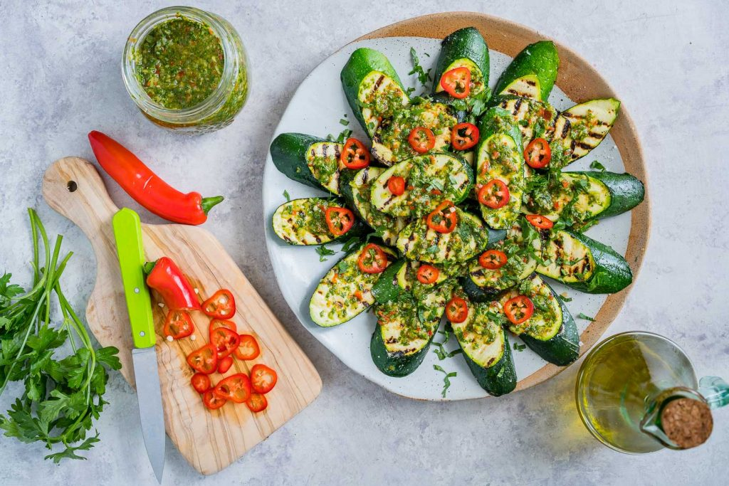 Freshly Grilled Zucchini with Chimichurri Meal