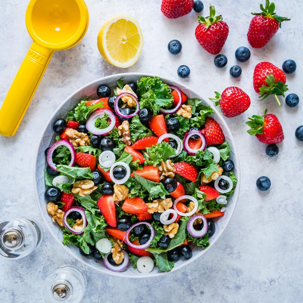 Massaged Kale Fresh Berry Salad with Citrusy Vinaigrette Recipe