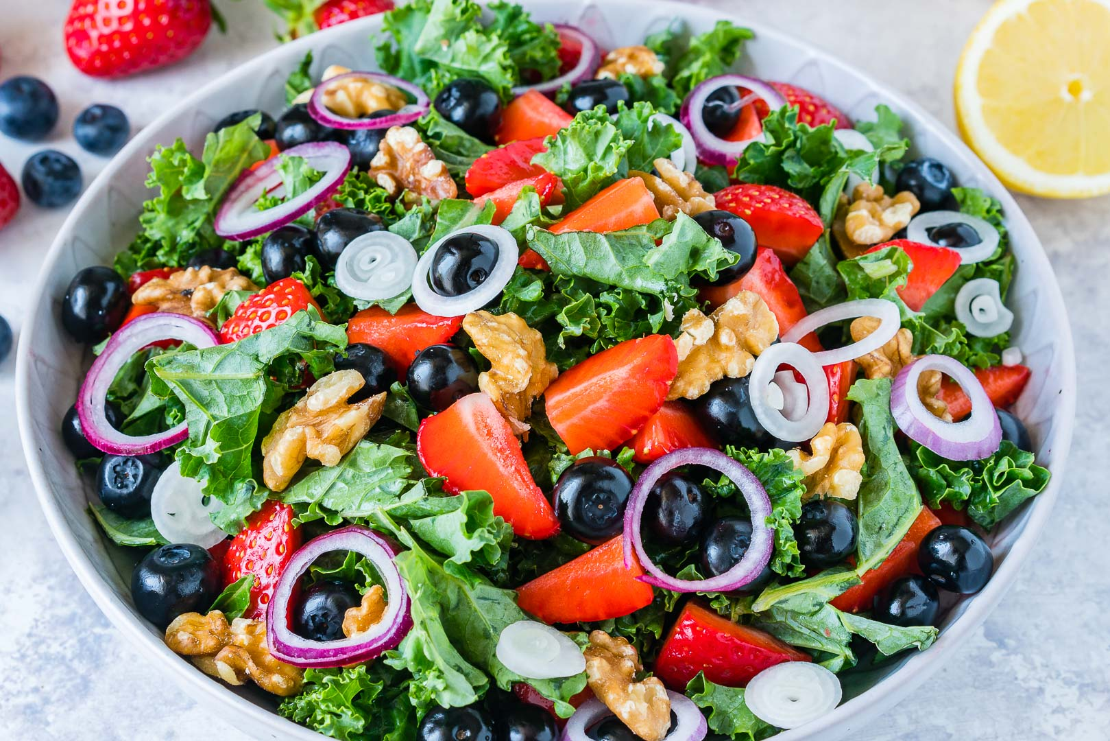 Massaged Kale + Fresh Berry Salad with Citrusy Vinaigrette CleanFoodCrush