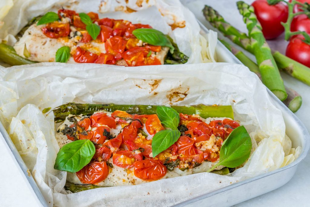 Oven Fresh Tomato Basil Halibut Packets