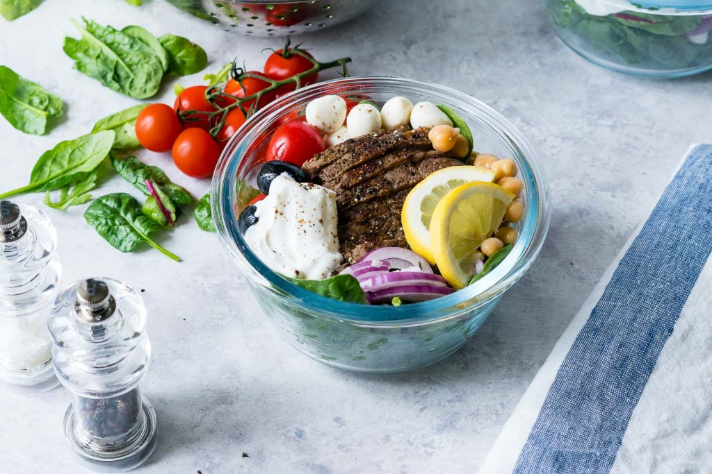 Mediterranean Steak Salad Bowls Food Prep