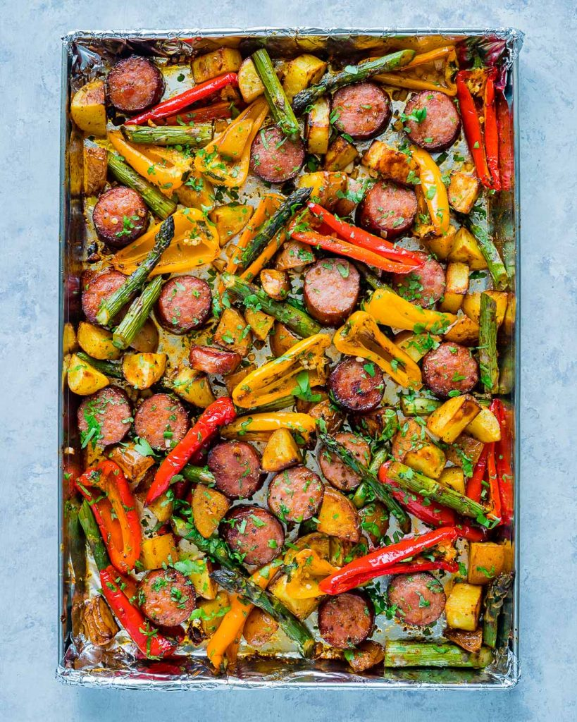 Healthy One Pan Honey Garlic Sausage Veggies