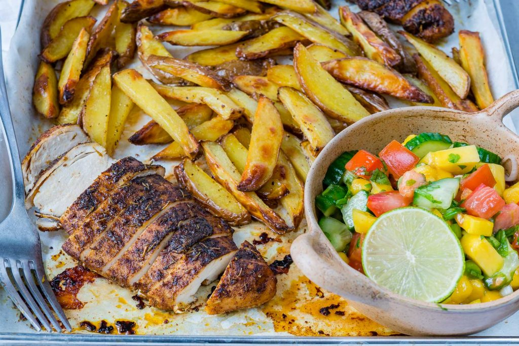 Jerk Chicken with Baked Fries Mango Salsa