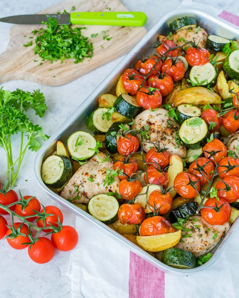 Clean Food Sheet Pan Summertime Chicken Bake