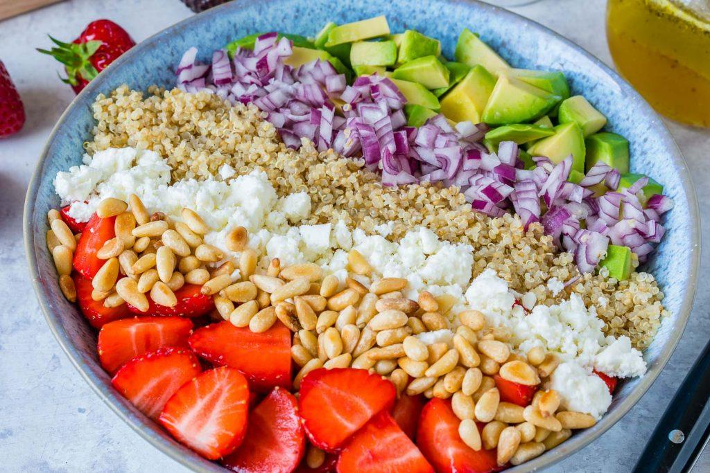 Strawberry Avocado Quinoa Salad + Honey-Lime Dressing CleanFoodCrush
