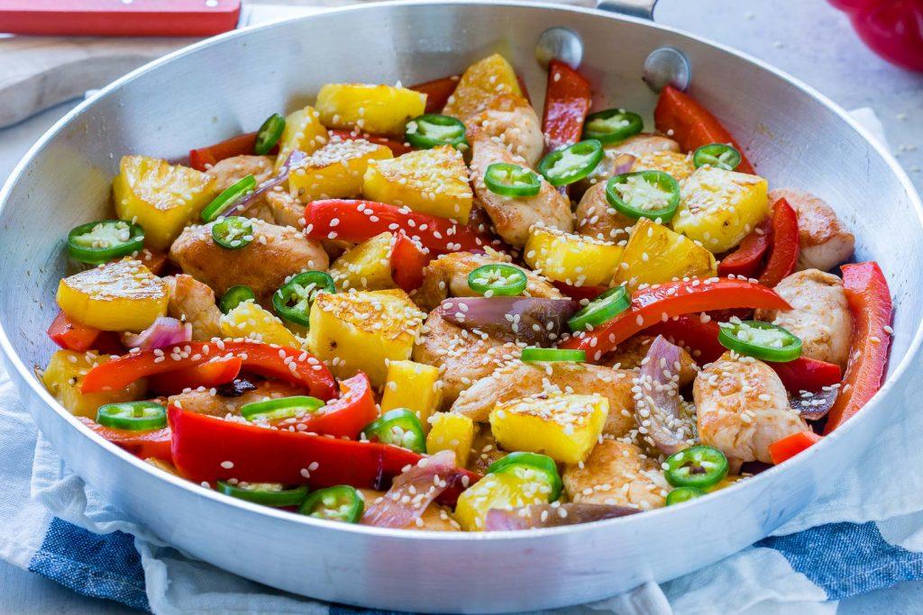 Sweet N' Spicy Pineapple Chicken Clean Food Skillet