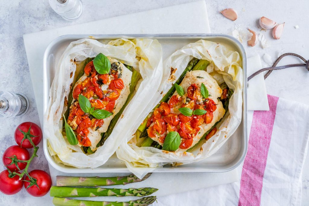 Tomato Basil Oven Roasted Halibut Packets Recipe