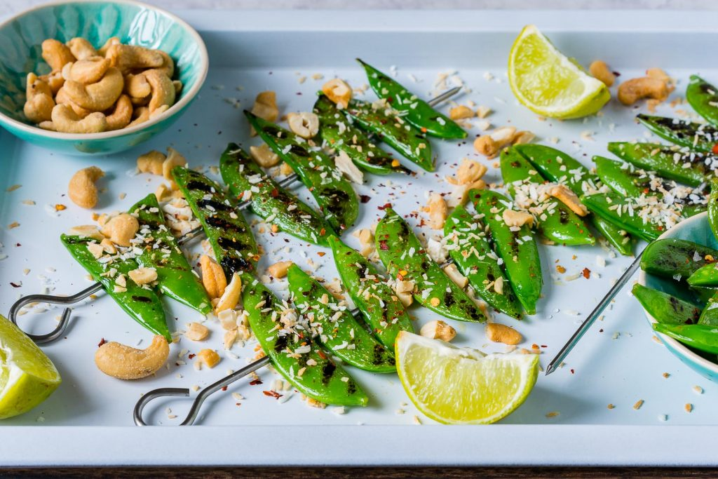 Grilled Peas with Toasted Coconut Cashews Recipe