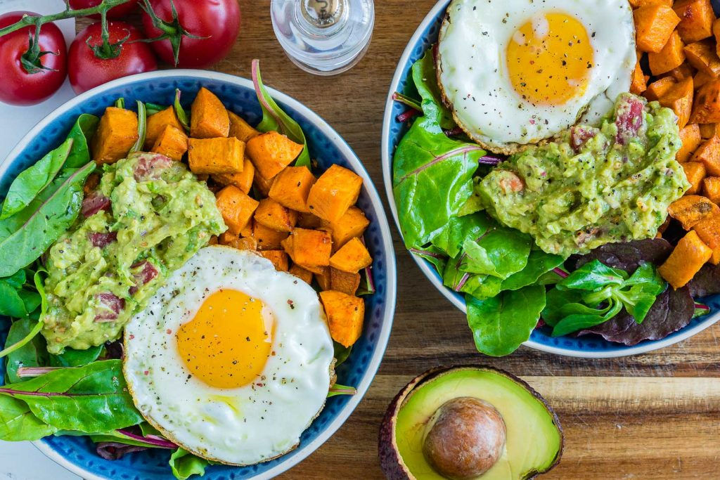 Guacamole Egg Sweet Potato Breakfast Bowls Instructions
