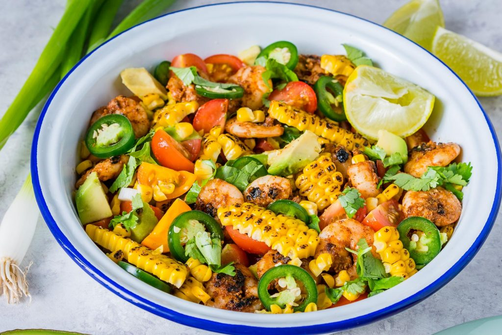Healthy Honey Lime Shrimp Grilled Corn Salad