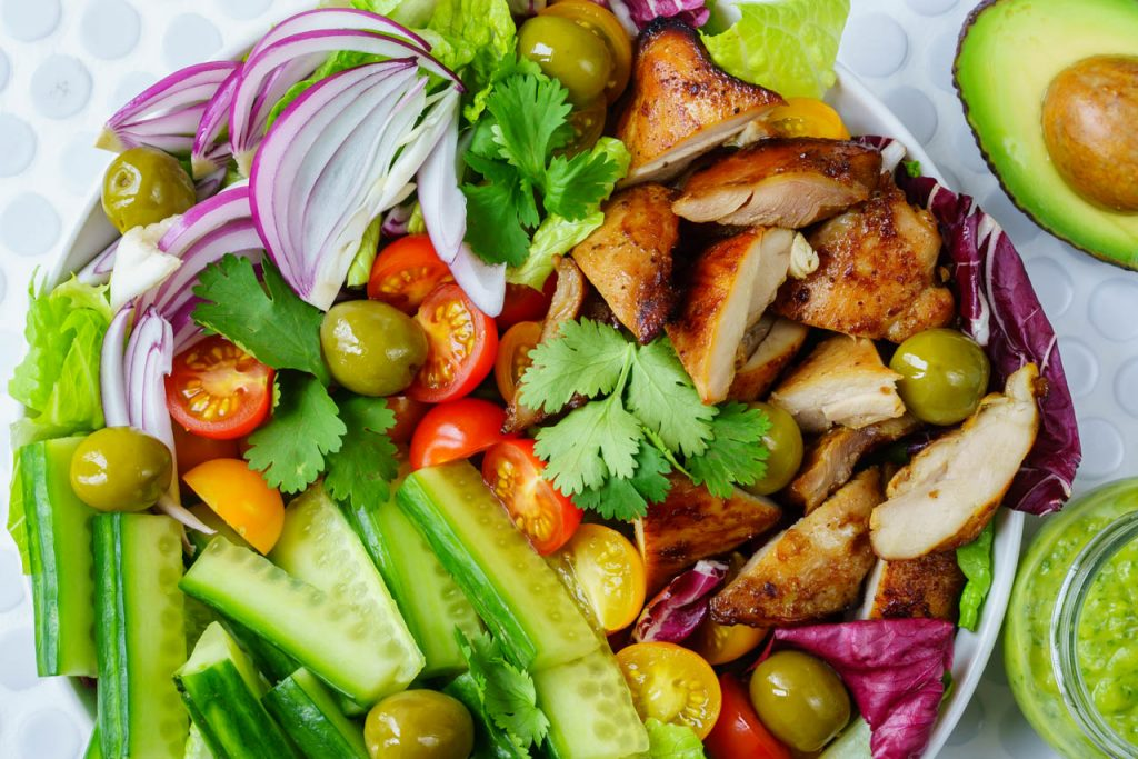 CleanFoodCrush Chicken + Crisp Cucumber Salad w: Creamy Avocado Dressing