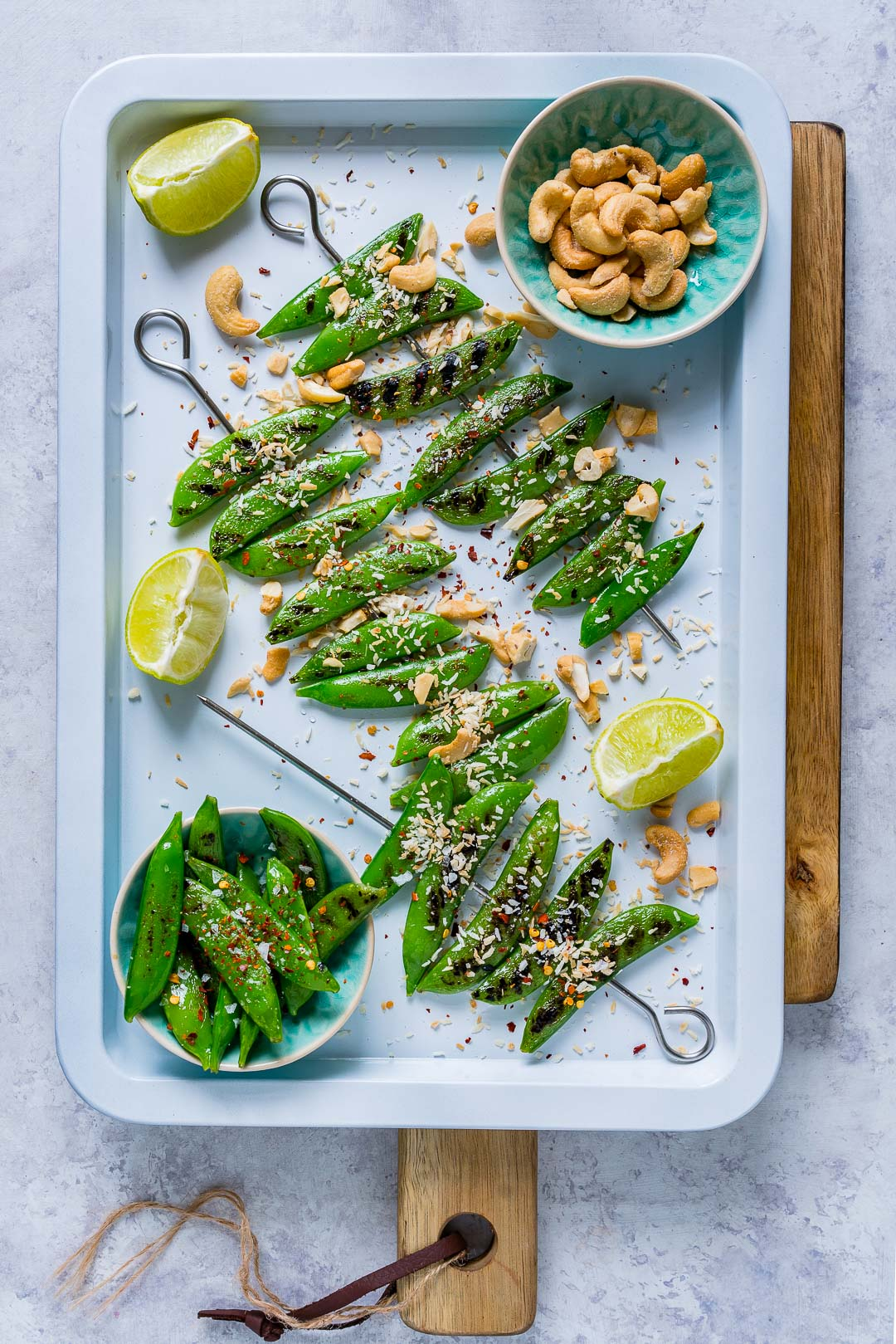 Healthy Grilled Peas with Toasted Coconut Cashews