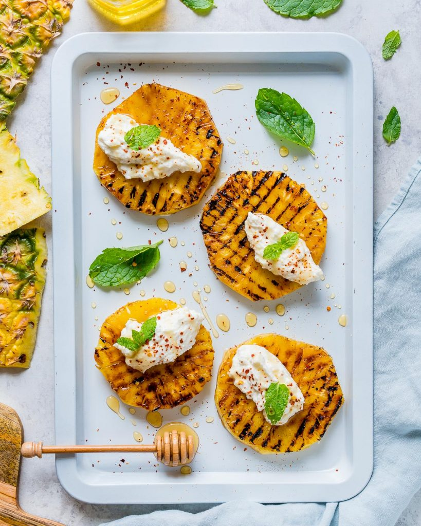 Real Clean Food Grilled Pineapple with Ricotta Honey