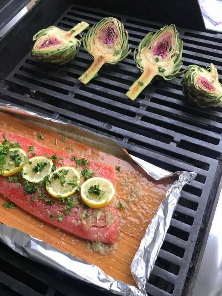 Ingredients of Lemon Garlic Salmon on the Grill