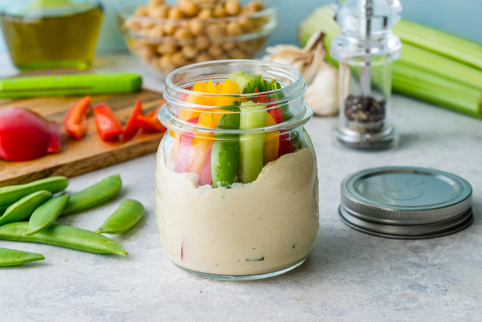 CleanFoodCrush Hummus + Crunchy Veggies Snack Jars