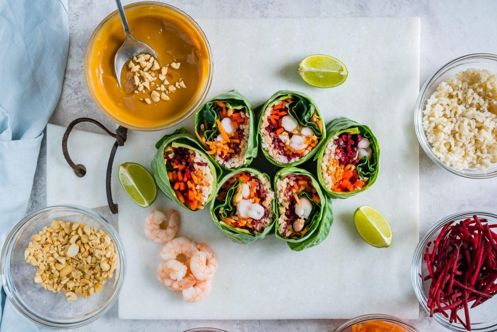 Creative Shrimp Roll Ups with Peanut Sauce Recipe