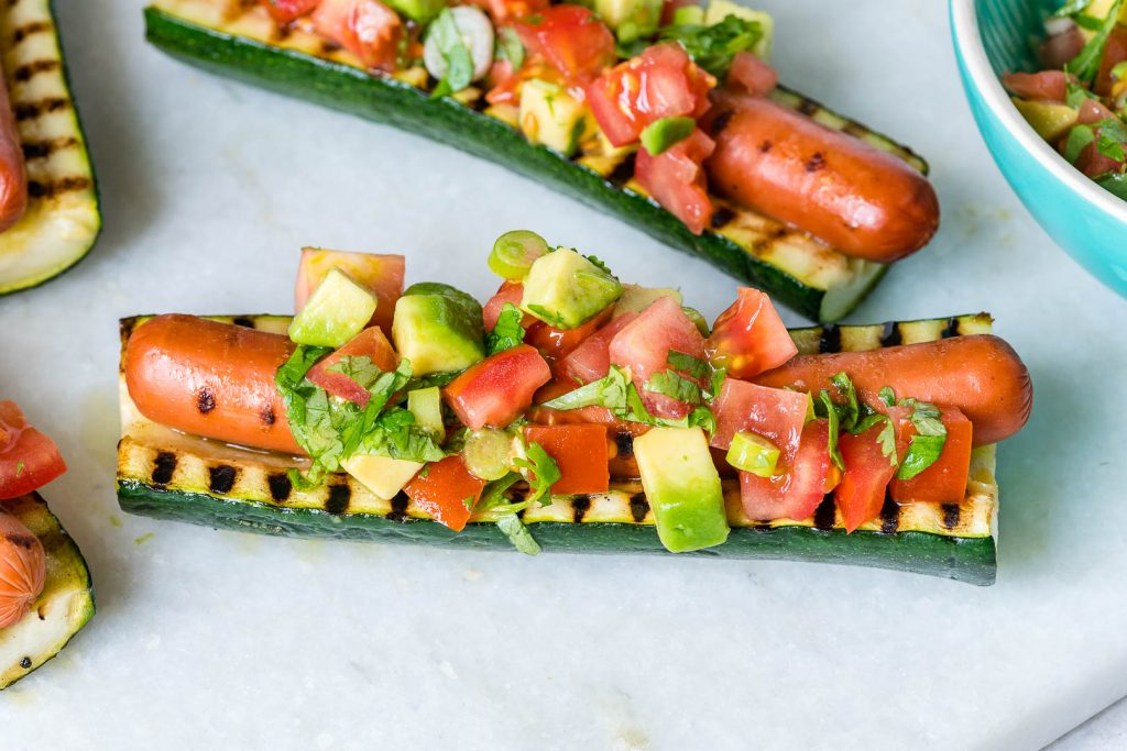 Creative Grilled Zucchini Hot Dog Boats