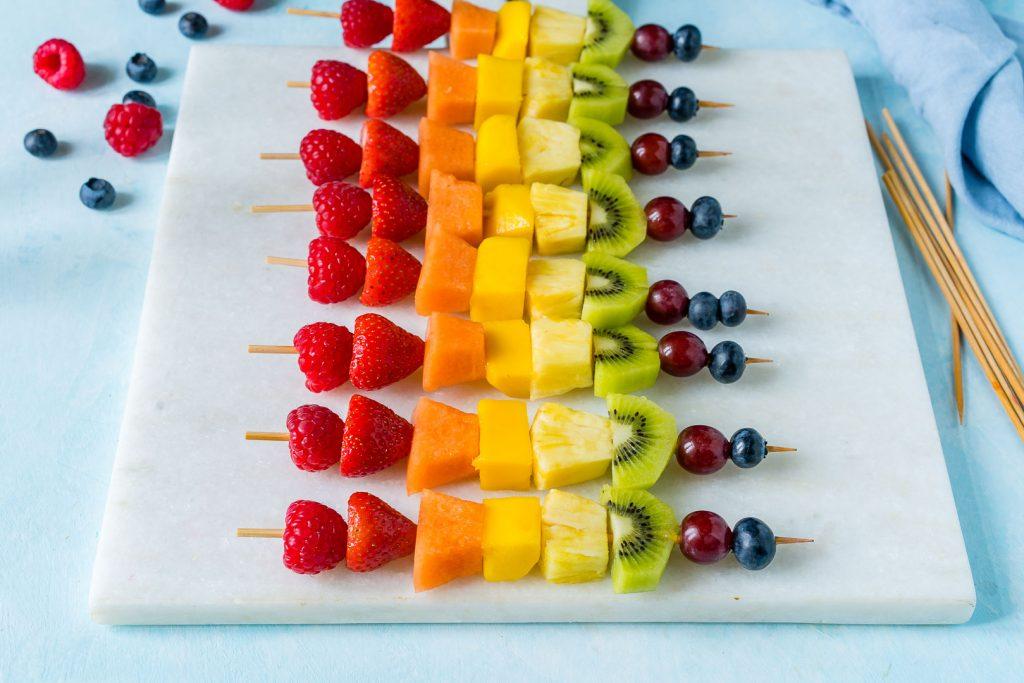 Creative Rainbow Fruit Skewers