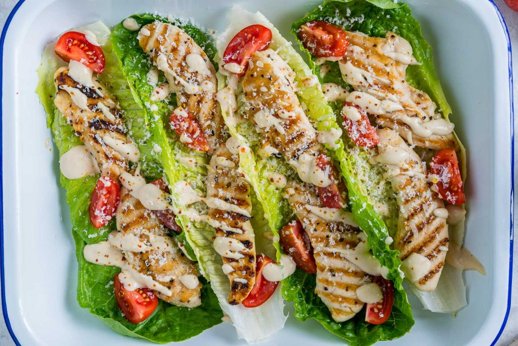 Eat Clean Grilled Chicken Caesar Wraps