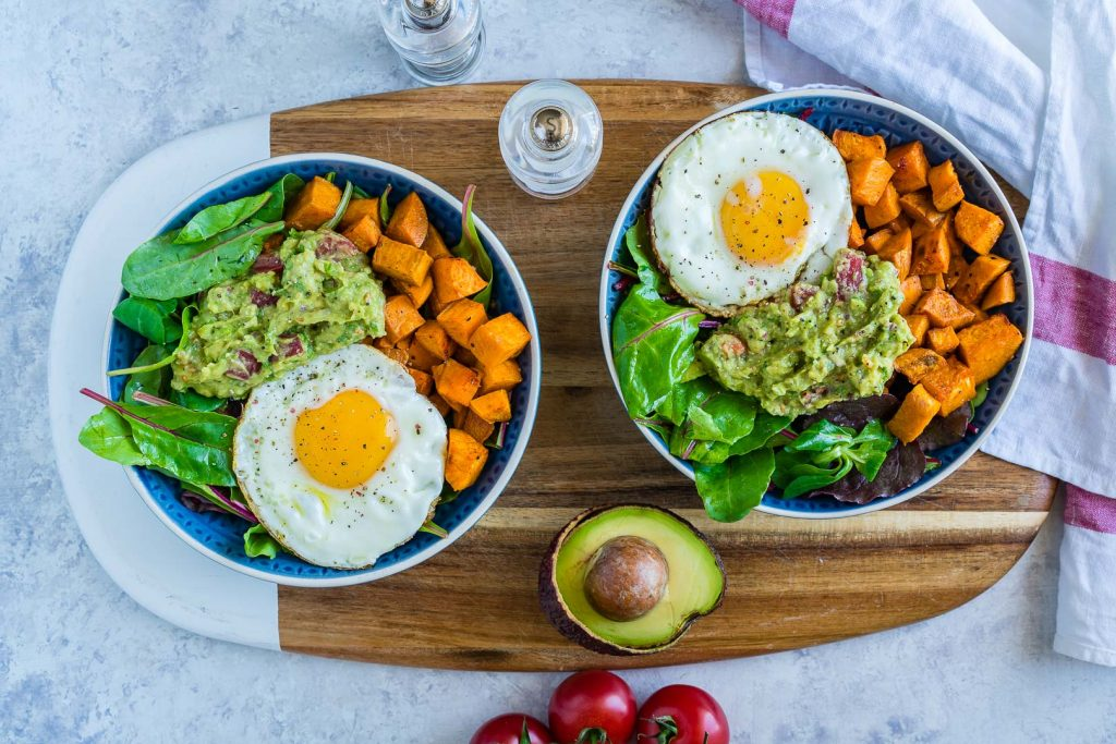 Guacamole Egg Sweet Potato Breakfast Bowls Recipe