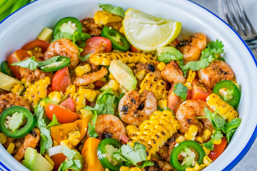Clean Food Honey Lime Shrimp Grilled Corn Salad