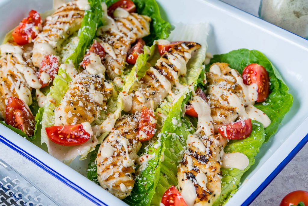 Healthy Grilled Chicken Caesar Wraps