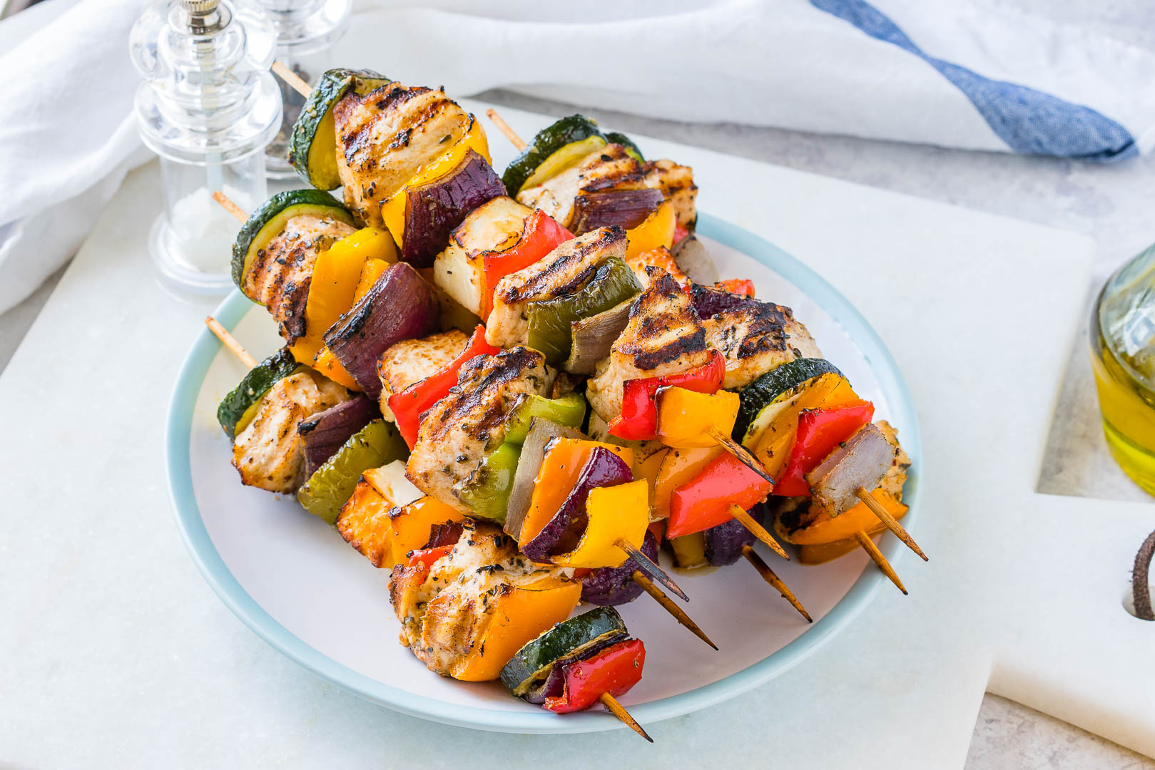 Grilled Chicken + Veggie Kabobs CleanFoodCrush Recipe