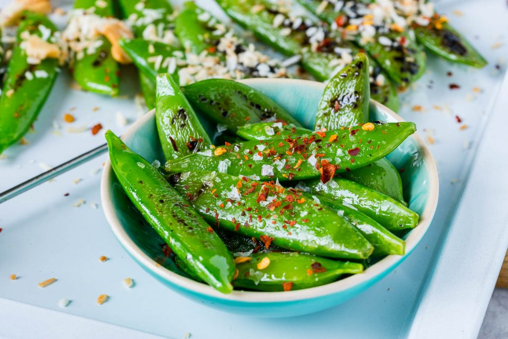 Grilled Peas with Toasted Coconut Cashews Ingredients