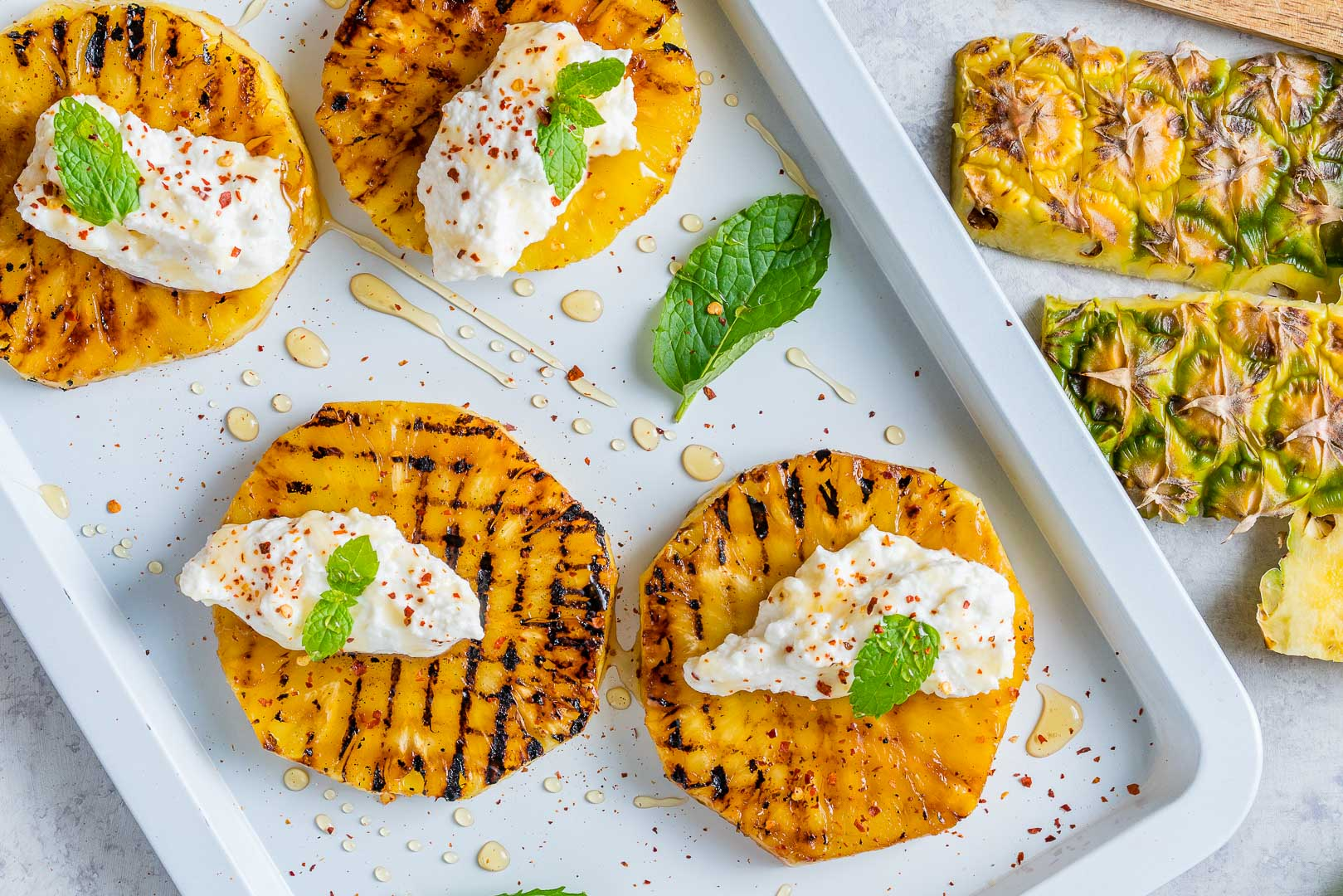Grilled Pineapple with Ricotta + Honey