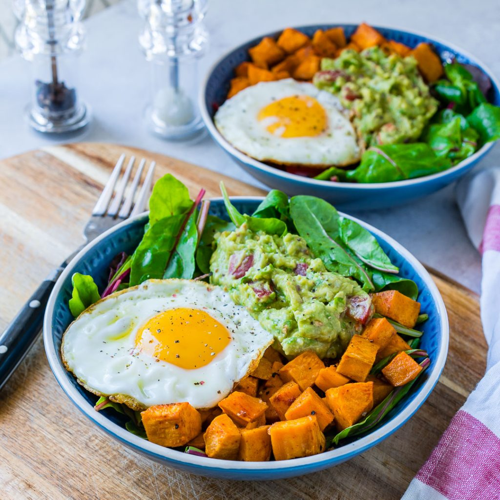 Clean Food Guacamole Egg Sweet Potato Breakfast Bowls