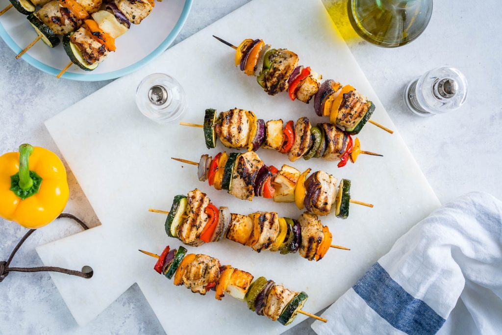 Grilled Chicken Veggie Kabobs Instructions