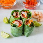 Healthy Shrimp Roll-Ups + Peanut Sauce