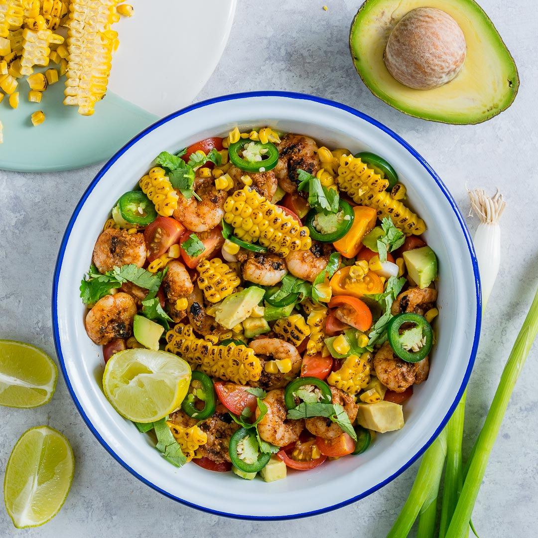 Honey-Lime Shrimp + Grilled Corn Salad CleanFoodcrush
