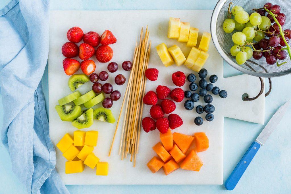 Creative Rainbow Fruit Skewers Ingredients