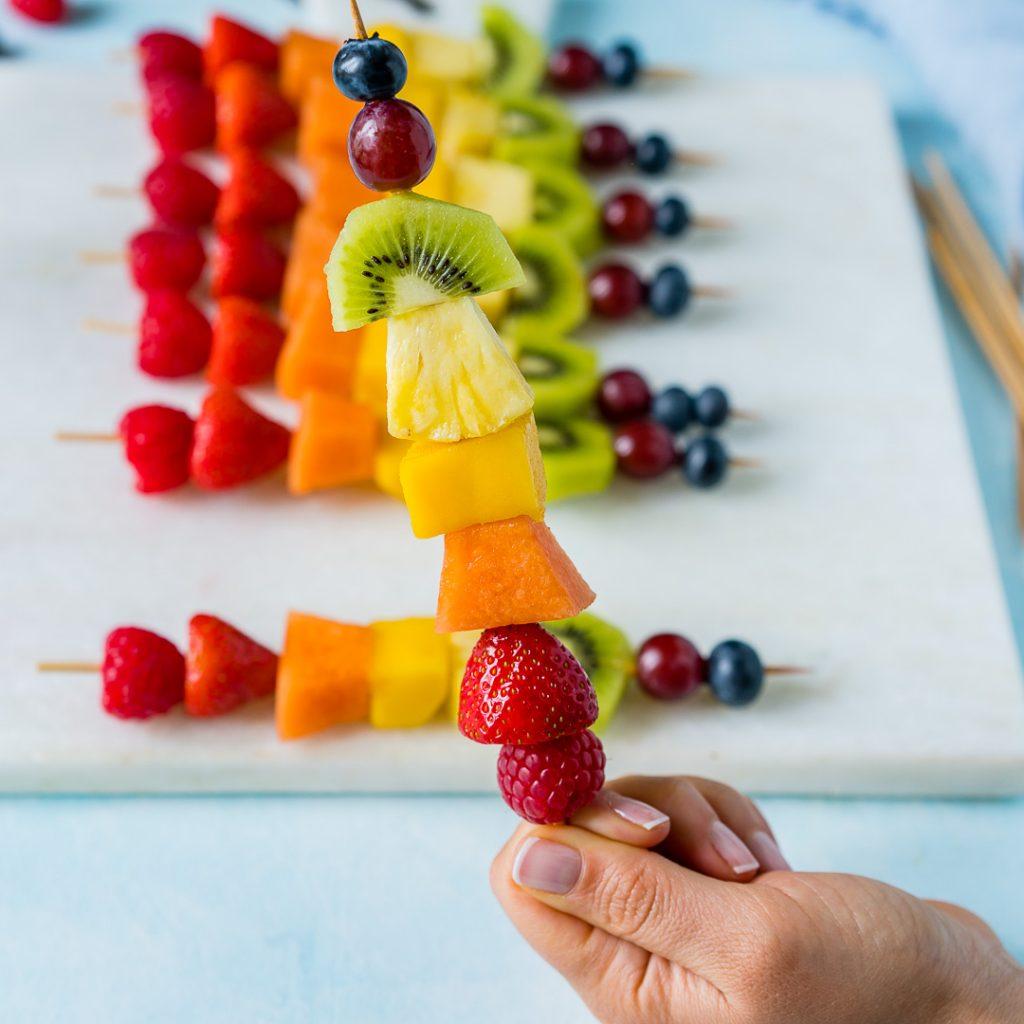 Rainbow Fruit Skewers Snack