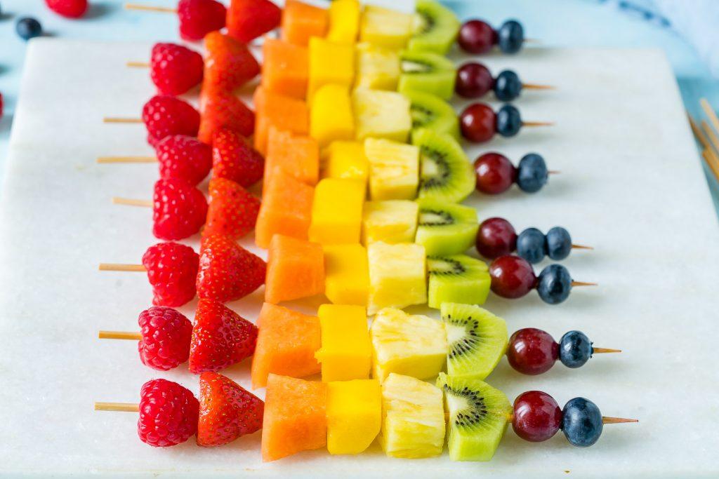 Colorful Rainbow Fruit Skewers