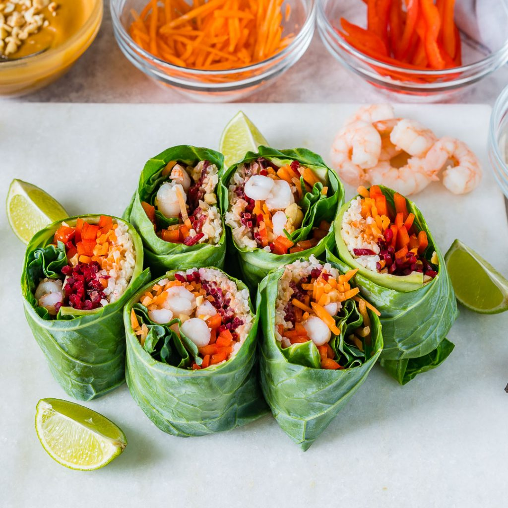 Healthy Shrimp Roll Ups with Peanut Sauce