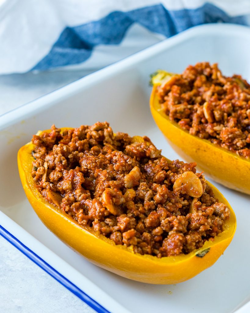 Clean Eating Bolognese Stuffed Spaghetti Squash