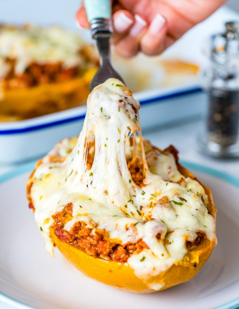 Healthy Bolognese Stuffed Spaghetti Squash Recipe