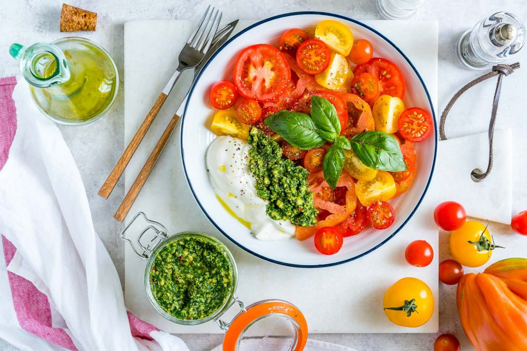 Clean Eating Heirloom Tomatoes Pesto Yogurt