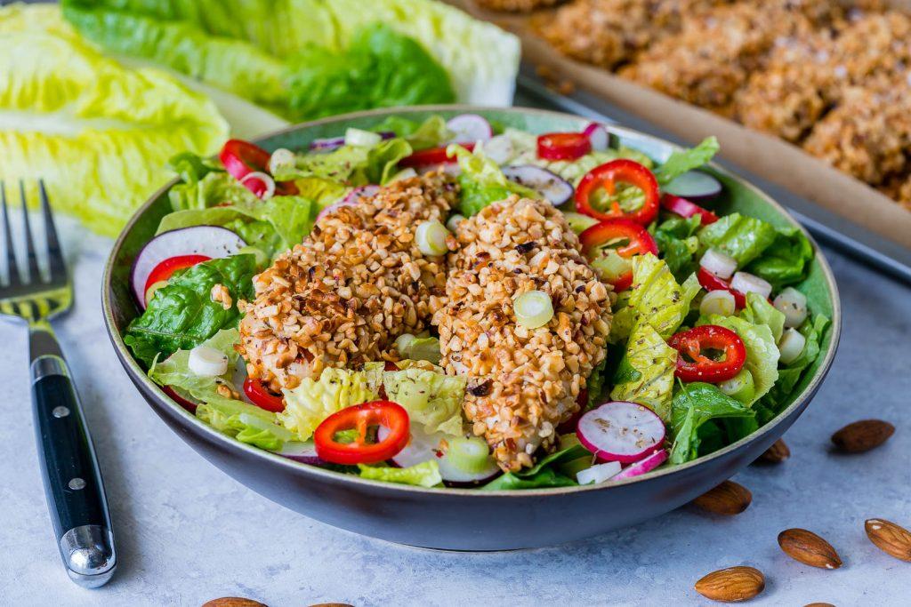 Gluten Free Crispy Chicken Salad with Homemade Honey Dijon Dressing