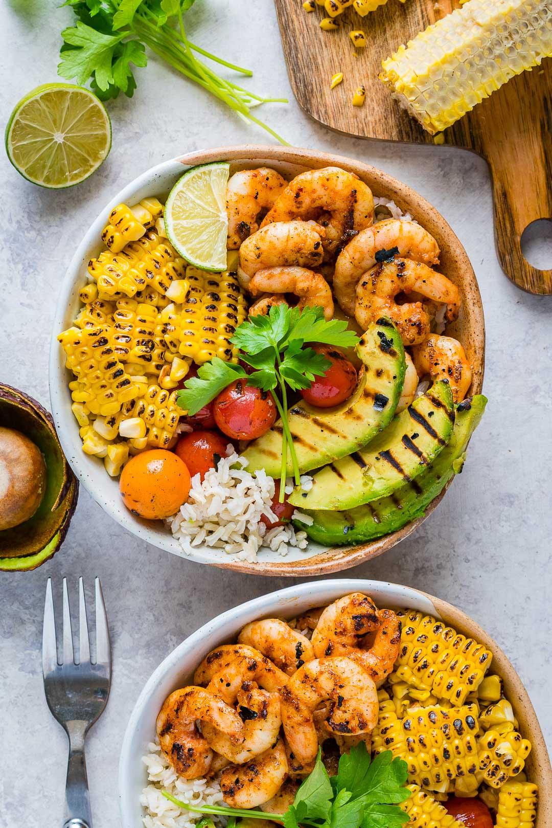 Clean Food Grilled Shrimp Bowls Cilantro Lime Rice