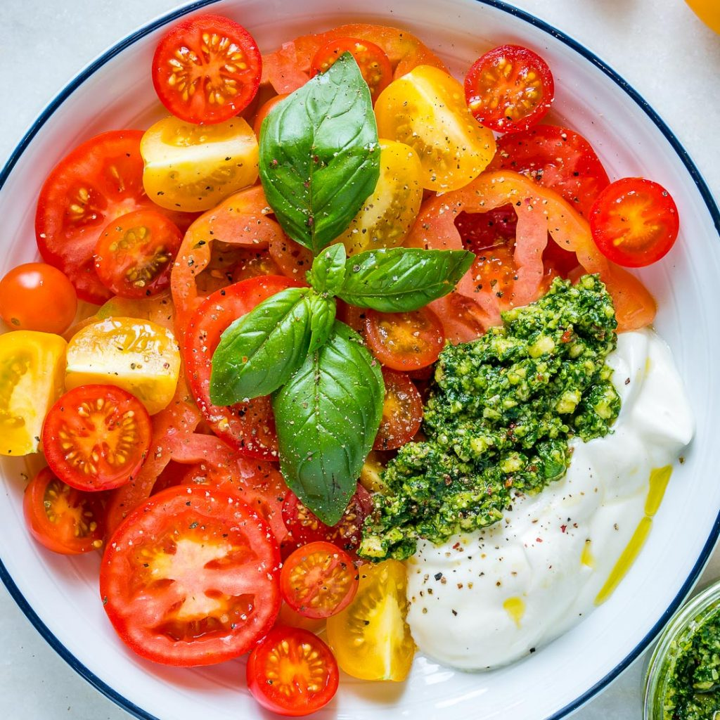 Heirloom Tomatoes Pesto Yogurt Healthy Diet
