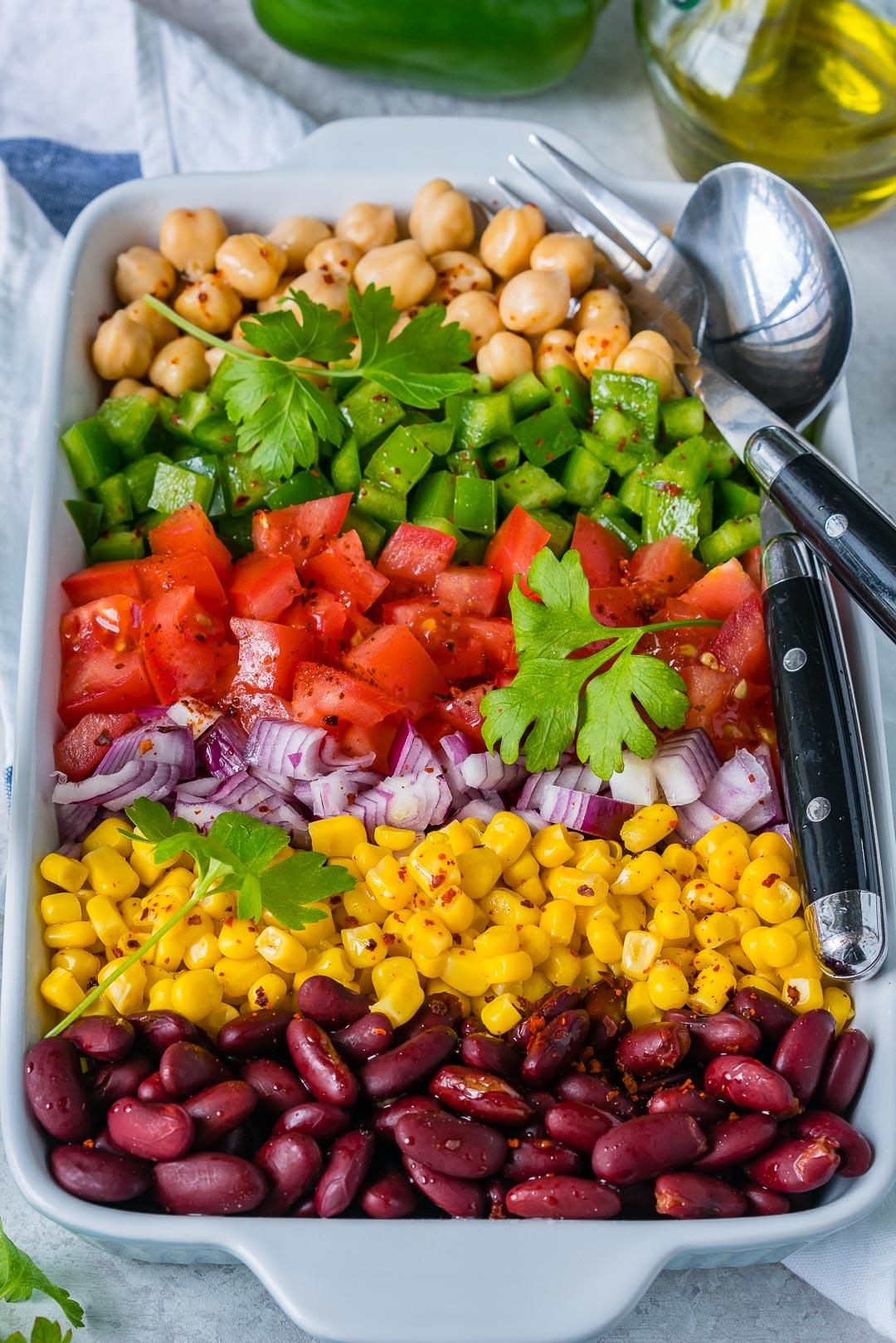 Colorful Lemony Layered Bean Salad