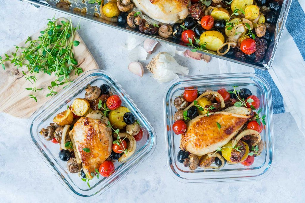 One Sheet Pan Tuscan Chicken Meal Prep